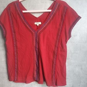 Madewell Small Embroidery marroon top